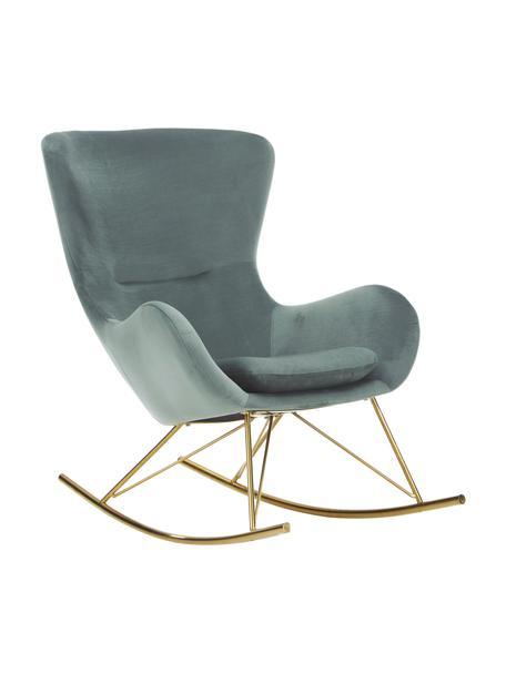 Fluwelen schommelstoel Wing in saliegroen met metalen poten, Bekleding: fluweel (polyester), Frame: gegalvaniseerd metaal, Fluweel saliekleurig, goudkleurig, B 76 x D 108 cm