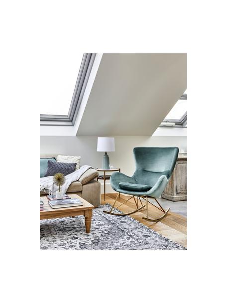 Fluwelen schommelstoel Wing in saliegroen, Bekleding: fluweel (polyester), Frame: gegalvaniseerd metaal, Fluweel saliekleurig, 66 x 102 cm