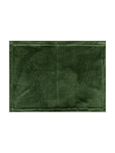 Fluwelen placemats Simone, 2 stuks, 100% polyester fluweel, Olijfgroen, 35 x 45 cm