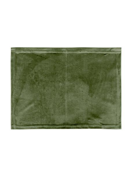 Fluwelen placemats Simone in olijfgroen, 2 stuks, 100% polyester fluweel, Olijfgroen, 35 x 45 cm