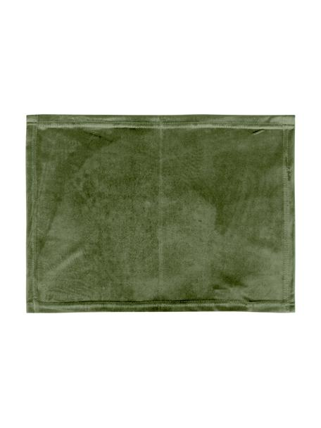 Tovaglietta americana in velluto verde oliva Simone 2 pz, 100% velluto di poliestere, Verde oliva, Larg. 35 x Lung. 45 cm