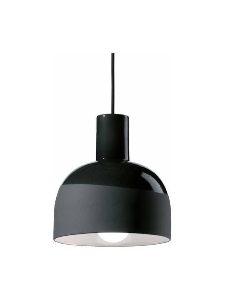 Lámpara de techo pequeña de cerámica Caxixi, Pantalla: cerámica, Anclaje: cerámica, Cable: cubierto en tela, Negro, Ø 22 x Al 27 cm