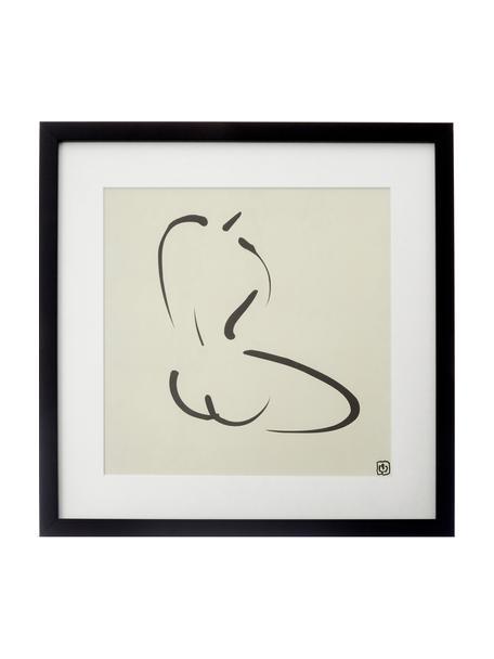 Stampa digitale incorniciata Akt Lady IV, Immagine: stampa digitale, Cornice: materiale sintetico, Immagine: nero, beige Cornice: nero, L 40 x A 40 cm