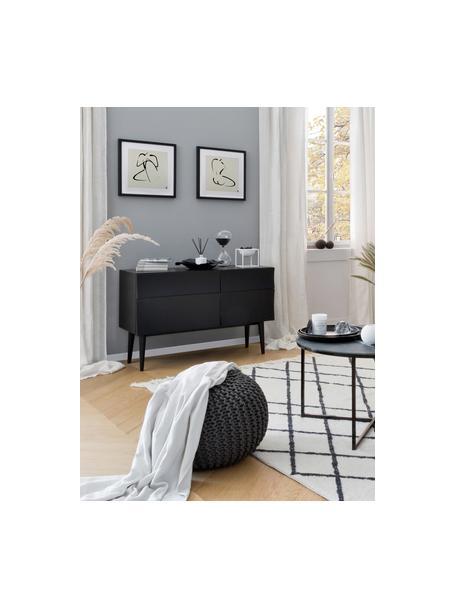 Ingelijste digitale print Senses II, MDF, gietijzer, glas, Afbeelding: zwart, beige. Lijst: zwart, 40 x 40 cm