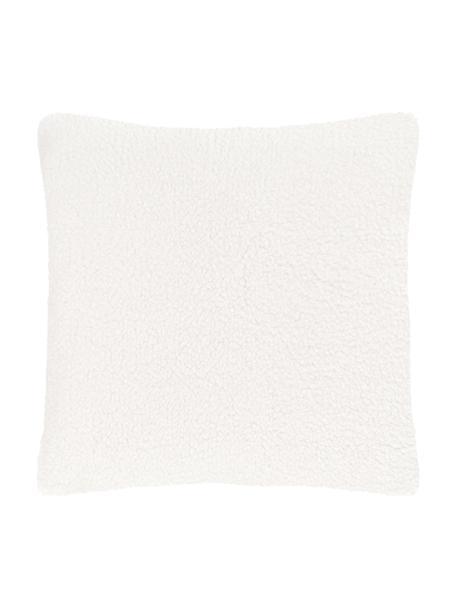 Zachte teddy-kussenhoes Mille in crème kleur, Crèmekleurig, 45 x 45 cm