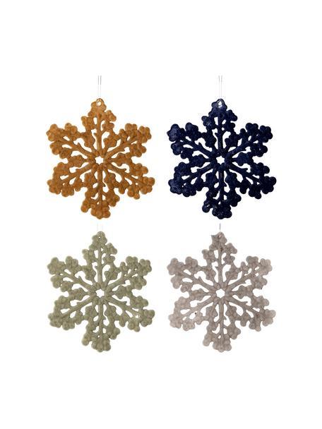 Adornos navideños irrompibles Snowflakes, 4uds., Adornos: plástico, poliéster, Mostaza, azul oscuro, verde menta, gris, Ø 12 cm