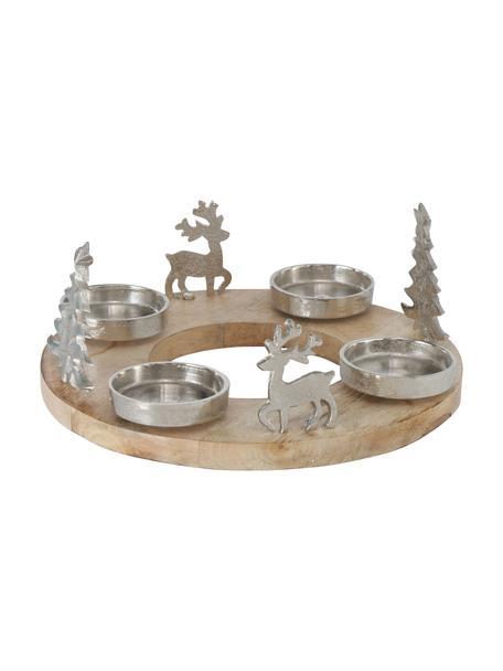 Kerzenhalter Janni, Kerzenhalter: Metall, Sockel: Holz, Silberfarben, Beige, Ø 31 x H 13 cm