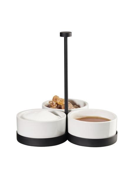 Set de cuencos de porcelana Cabaret, 4pzas., Cuencos: porcelana, Estructura: metal recubierto, Negro, blanco, Ø 8 x Al 18 cm