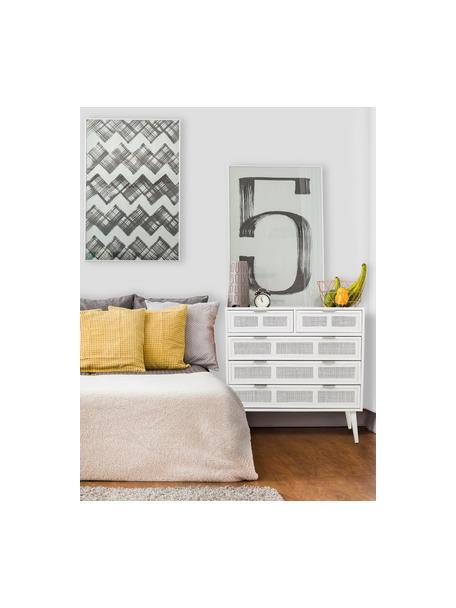 Szafka z szufladami z drewna Cayetana, Korpus: płyta pilśniowa średniej , Nogi: drewno bambusowe, lakiero, Biały, S 80 x W 81 cm