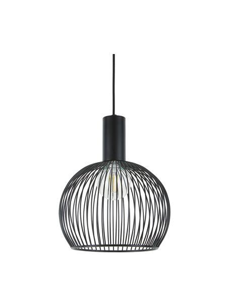 Lámpara de techo de metal Aver, Pantalla: acero pintado, Anclaje: plástico, Cable: cubierto en tela, Negro, Ø 30 x Al 35 cm