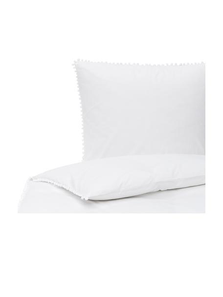 Pościel z perkalu z pomponami Bommy, Biały, 135 x 200 cm + 1 poduszka 80 x 80 cm