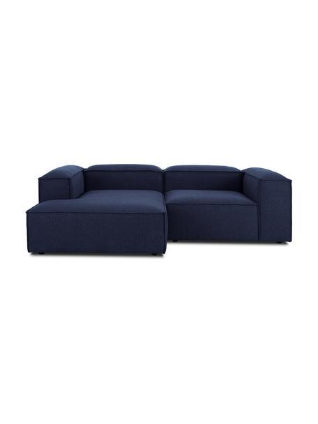 Modulaire hoekbank Lennon in blauw, Bekleding: 100% polyester De slijtva, Frame: massief grenenhout, multi, Poten: kunststof De poten bevind, Geweven stof blauw, B 238 x D 180 cm