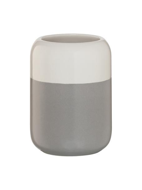 Kubek na szczoteczki z porcelany Sphere, Porcelana, Jasny szary, biały, Ø 7 x W 10 cm