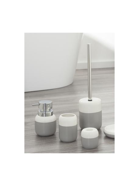 Porta spazzolini in porcellana Sphere, Porcellana, Grigio chiaro, bianco, Ø 7 x Alt. 10 cm