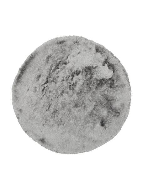 Tappeto rotondo lucido a pelo lungo grigio chiaro Jimmy, Retro: 100% cotone, Grigio chiaro, Ø 150 cm (taglia M)