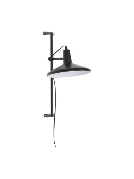 In hoogte verstelbare wandlamp Twiss met stekker, Lampenkap: gelakt metaal, Zwart, Ø 25 x H 50 cm
