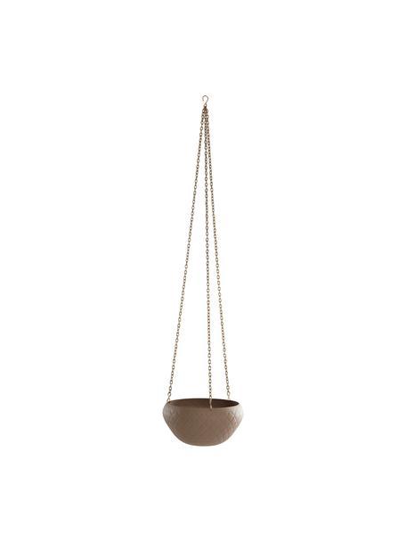 Hangende plantenpot Gullan, Gecoat metaal, Beige, Ø 25 x H 13 cm