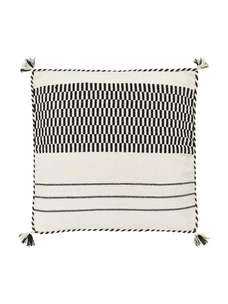 Federa arredo in cotone color nero/biege con nappe Okiro, 100% cotone, Beige, nero, Larg. 45 x Lung. 45 cm