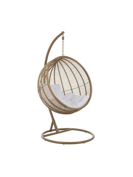 Poltrona rotonda sospesa con struttura in metallo Round, Marrone, bianco, Larg. 119 x Alt. 193 cm