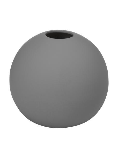 Jarrón artesanal Ball, Cerámica, Gris, Ø 10 x Al 10 cm