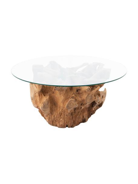 Stolik kawowy z drewna i szkła Root, Blat: szkło, Stelaż: drewno naturalne, Brązowy, transparentny, Ø 100 x W 45 cm