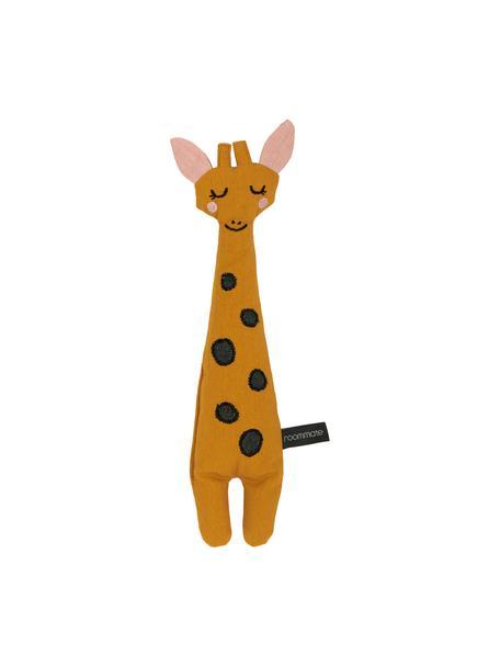 Kuscheltier Giraffe aus Bio-Baumwolle, Gelb, Schwarz, Rosa, 8 x 30 cm