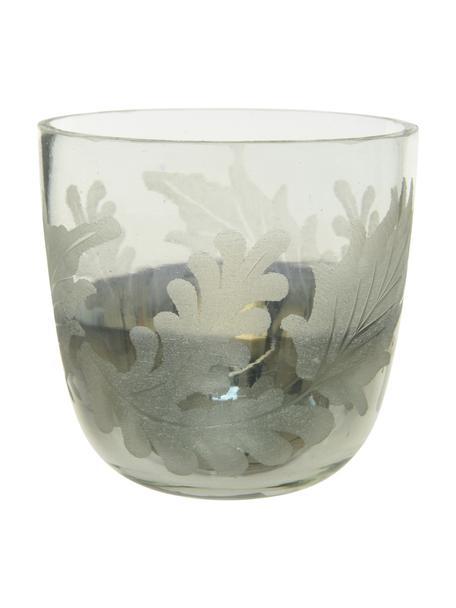 Teelichthalter Jagna, Glas, Transparent, Silberfarben, Ø 9 x H 8 cm