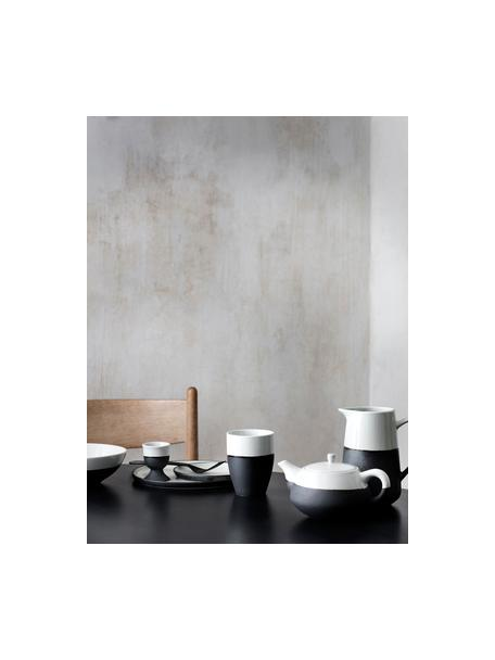 Portauova opaco/lucido fatto a mano Esrum 4 pz, Sotto: gres naturale, Color avorio, grigio-marrone, Ø 5 x Alt. 6 cm