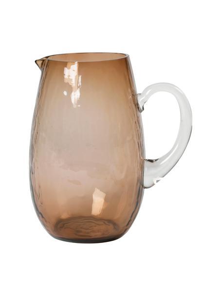 Grosser mundgeblasener Krug Hammered mit gehämmerter Oberfläche, 2 L, Glas, Braun, Ø 14 x H 22 cm