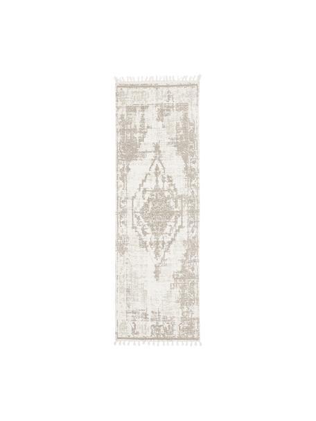 Handgewebter Baumwollläufer Jasmine in Beige/Taupe im Vintage-Style, Beige, 80 x 250 cm