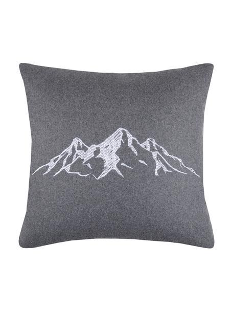 Kissen Charvin in Grau mit Bergmotiv, mit Inlett, Bezug: 95% Polyester, 5% Wolle, Grau, 45 x 45 cm