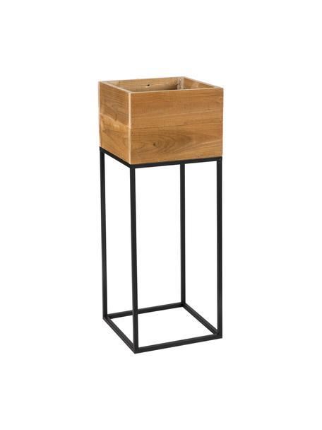 Übertopf Lobin aus Holz und Metall, Übertopf: Recyceltes Holz, Gestell: Metall, beschichtet, Braun, Schwarz, 28 x 75 cm
