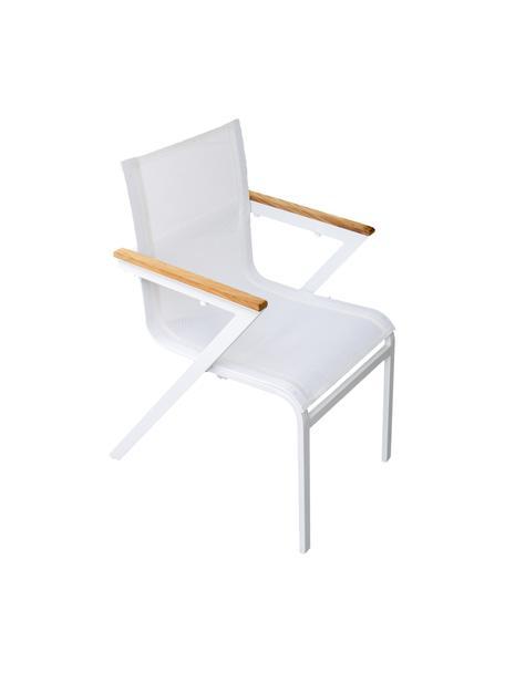 Ogrodowe krzesło z podłokietnikami Mexico, 2 szt., Stelaż: aluminium lakierowane, Biały, brązowy, S 57 x G 63 cm