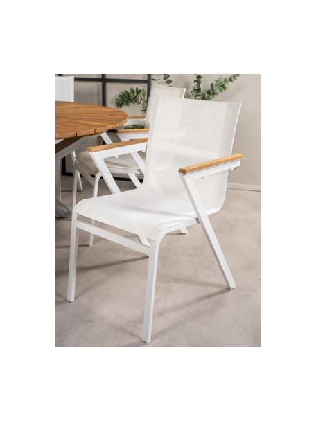 Sedia da giardino con braccioli Mexico 2 pz, Struttura: alluminio verniciato, Seduta: textilene, Bianco, marrone, Larg. 57 x Prof. 63 cm