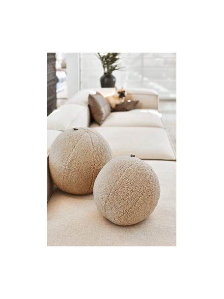 Cuscino in teddy a forma di palla con imbottitura Palla, Rivestimento: 100% poliestere, Color sabbia, Ø 30 cm