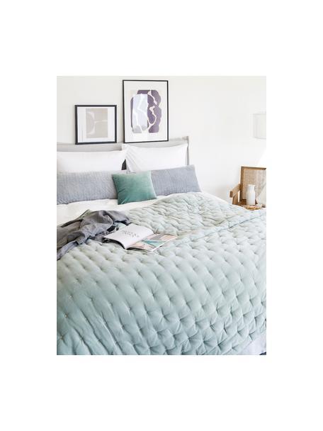Wattierte Samt-Tagesdecke Cheryl mit dekorativer Steppung, Vorderseite: Baumwollsamt, Rückseite: Baumwolle, Salbeigrün, B 160 x L 220 cm (für Betten bis 140 x 200)