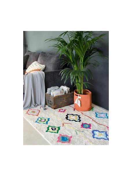 Alfombra lavable artesanal Kaarol, Algodón reciclado (80%algodón, 20%otras fibras), Multicolor, An 140 x L 200 cm(Tamaño S)