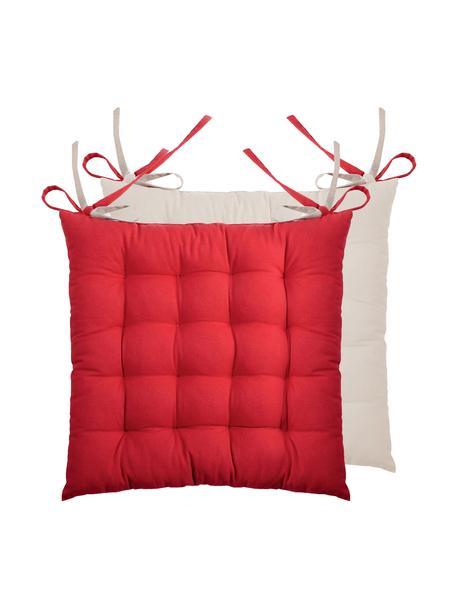 Dubbelzijdige stoelkussens Duo rood/beige, 2 stuks, Rood, beige, 40 x 40 cm