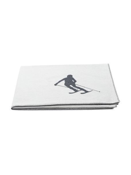 Katoenen plaid Skiers in wit/donkergrijs, 85% katoen, 15% polyacryl, Lichtgrijs, grijs, 140 x 200 cm