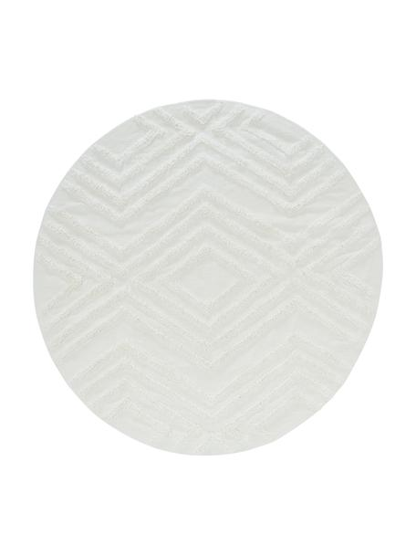 Alfombra redonda de algodón texturizada Carito, 100%algodón, Crema, Ø 120 cm (Tamaño S)