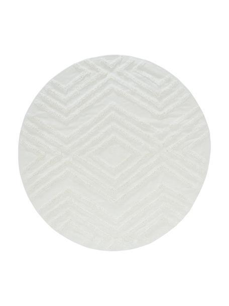 Rond katoenen vloerkleed Carito met verhoogd hoog-laag patroon, 100% katoen, Crèmekleurig, Ø 120 cm (maat S)