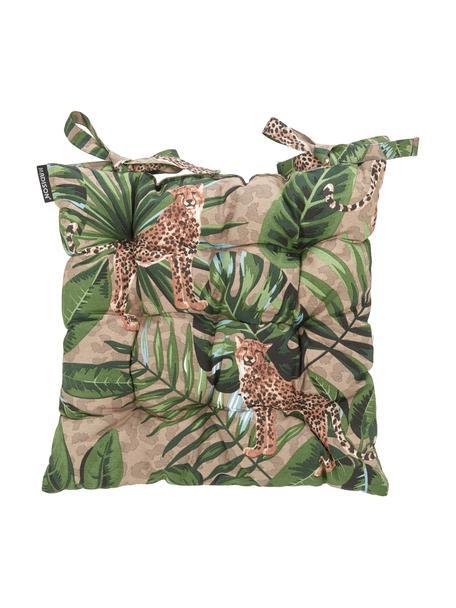 Stoelkussen Lenny met tropische print, 50% katoen, 45% polyester, 5% andere vezels, Taupe, groen, bruin, zwart, 45 x 45 cm