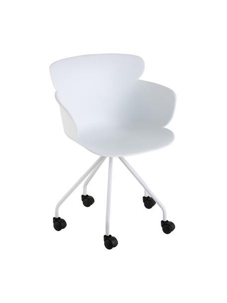 Kunststoff-Bürostuhl Eva mit Rollen, Kunststoff (PP), Weiß, B 61 x T 58 cm