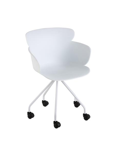 Sedia da ufficio in plastica con ruote Eva, Materiale sintetico (PP), Bianco, Larg. 61 x Alt. 58 cm