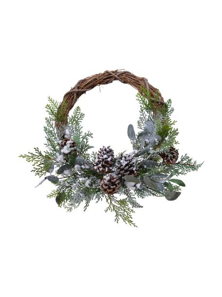 Kerstkrans Lavinia, Kunststof, dennenappels, eucalyptus, Groen, bruin, wit, Ø 40 x H 15 cm