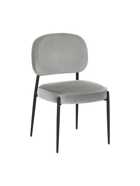 Krzesło tapicerowane z aksamitu Viggo, Tapicerka: aksamit (poliester) Dzięk, Aksamitny szary, nogi: czarny, S 49 x G 66 cm