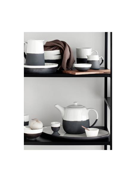 Keramische handgemaakte theepot Esrum mat/glanzend, 1.4 L, Bovenzijde: glad geglazuurd keramiek, Onderzijde: natuurlijk keramiek, Ivoorkleurig, grijsbruin, 1,4 L
