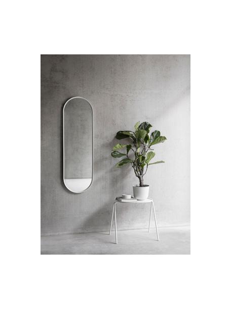 Specchio da parete ovale con legno bianco Norm, Cornice: alluminio verniciato a po, Superficie dello specchio: lastra di vetro, Bianco, Larg. 40 x Alt. 130 cm