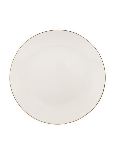 Handgemachte Speiseteller Allure mit goldfarbenem Rand, 6 Stück, Keramik, Weiß, Goldfarben, Ø 26 cm