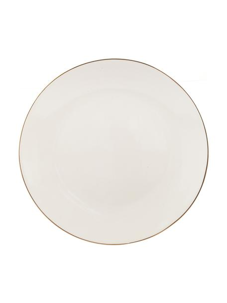 Piatto piano fatto a mano con bordo dorato Allure 6 pz, Ceramica, Bianco, dorato, Ø 26